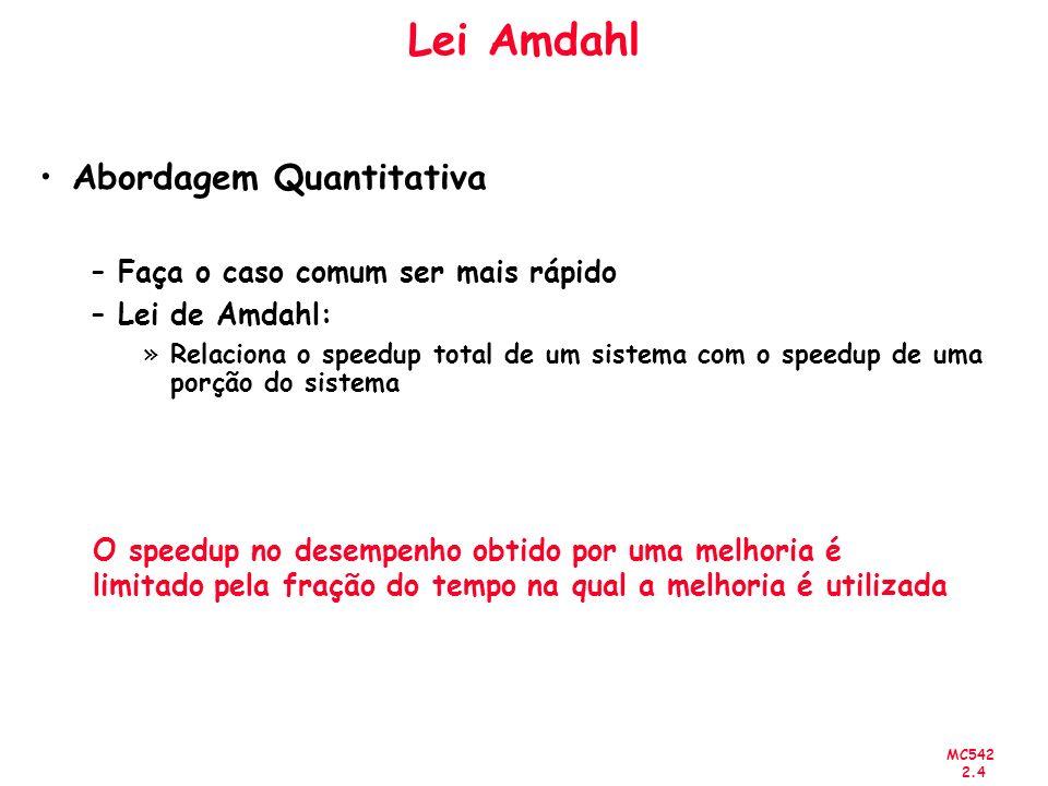 MC542 2.4 Lei Amdahl Abordagem Quantitativa –Faça o caso comum ser mais rápido –Lei de Amdahl: »Relaciona o speedup total de um sistema com o speedup