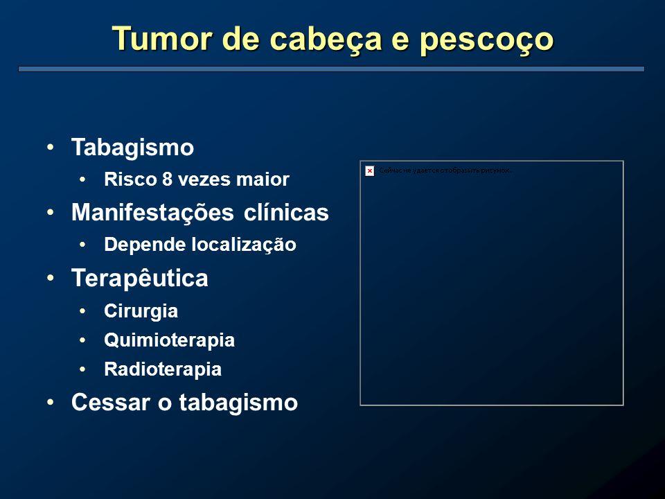 Tumor de cabeça e pescoço Tabagismo Risco 8 vezes maior Manifestações clínicas Depende localização Terapêutica Cirurgia Quimioterapia Radioterapia Ces