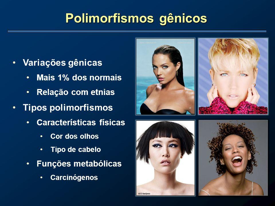 Polimorfismos gênicos Variações gênicas Mais 1% dos normais Relação com etnias Tipos polimorfismos Características físicas Cor dos olhos Tipo de cabel
