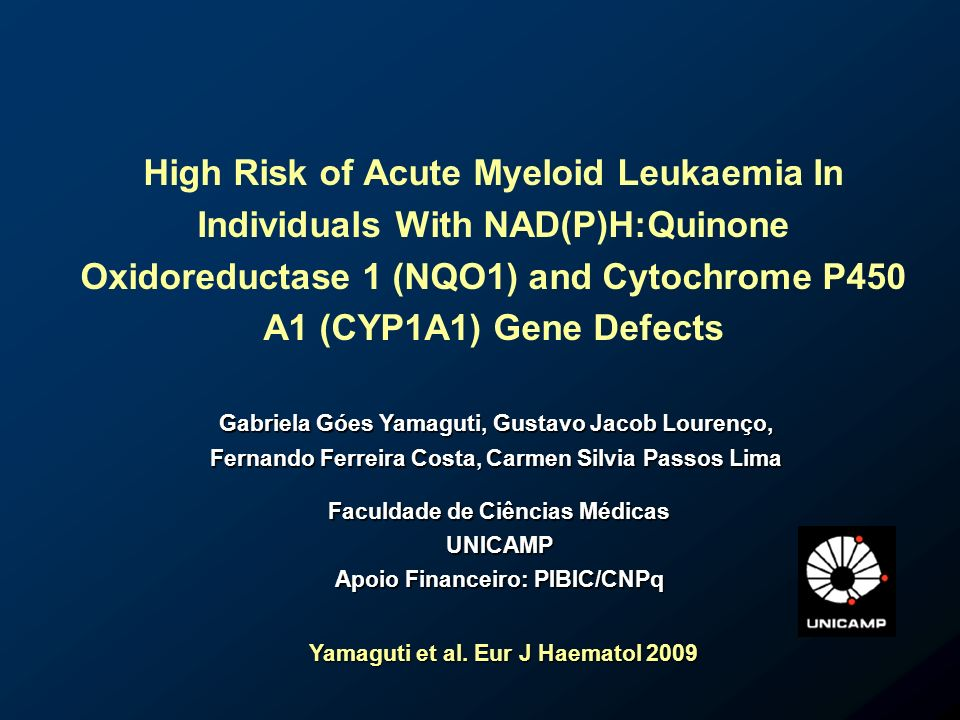 High Risk of Acute Myeloid Leukaemia In Individuals With NAD(P)H:Quinone Oxidoreductase 1 (NQO1) and Cytochrome P450 A1 (CYP1A1) Gene Defects Gabriela