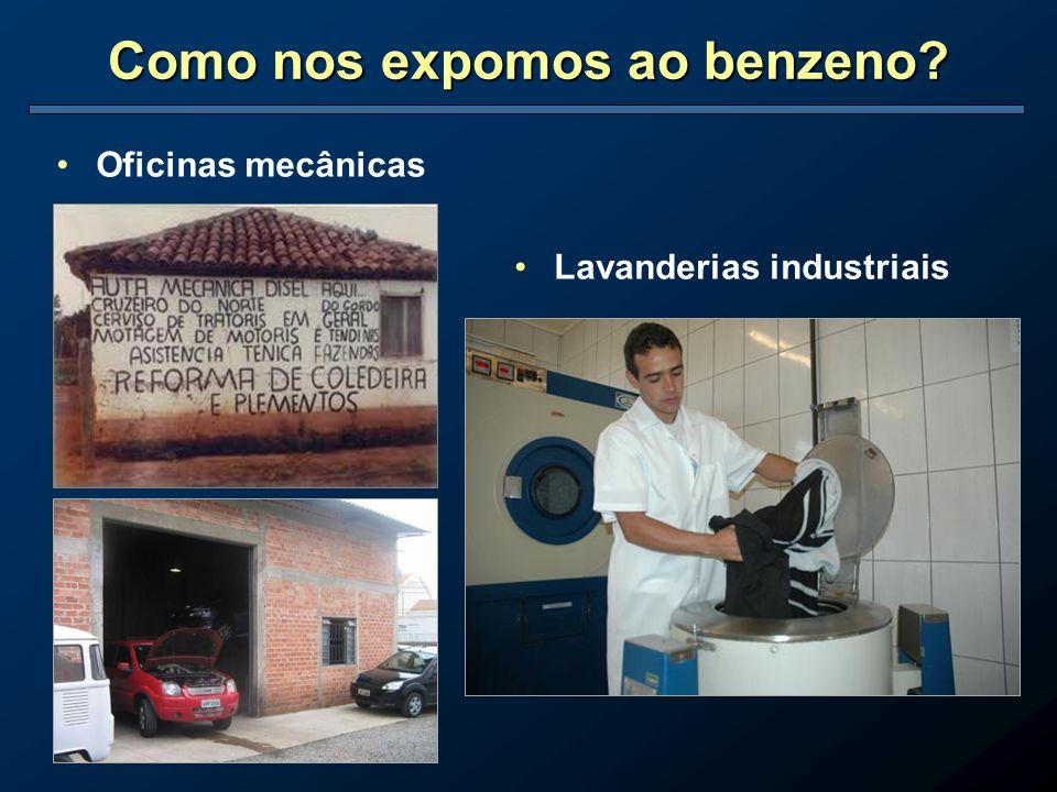 Como nos expomos ao benzeno? Oficinas mecânicas Lavanderias industriais