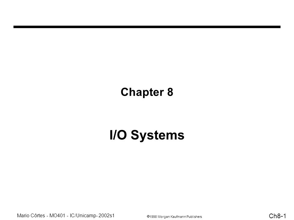 1998 Morgan Kaufmann Publishers Mario Côrtes - MO401 - IC/Unicamp- 2002s1 Ch8-12 Alguns tipos de barramentos CPU-Memória –geralmente específicos –curtos –alta velocidade Barramentos de I/O –longo –muitos dispositivos –não tem interface direta com a memória –pode ser padronizado Backplane –objetivo: barramento padrão para permitir a interconexão de vários tipos de dispositivos –pode ser padronizado