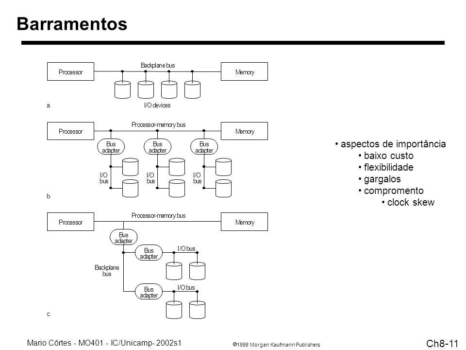 1998 Morgan Kaufmann Publishers Mario Côrtes - MO401 - IC/Unicamp- 2002s1 Ch8-11 Barramentos aspectos de importância baixo custo flexibilidade gargalos compromento clock skew