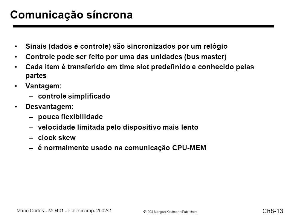 1998 Morgan Kaufmann Publishers Mario Côrtes - MO401 - IC/Unicamp- 2002s1 Ch8-13 Comunicação síncrona Sinais (dados e controle) são sincronizados por um relógio Controle pode ser feito por uma das unidades (bus master) Cada item é transferido em time slot predefinido e conhecido pelas partes Vantagem: –controle simplificado Desvantagem: –pouca flexibilidade –velocidade limitada pelo dispositivo mais lento –clock skew –é normalmente usado na comunicação CPU-MEM