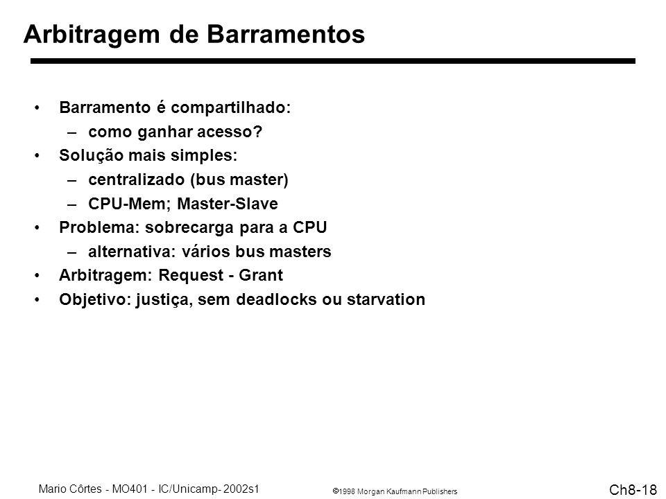 1998 Morgan Kaufmann Publishers Mario Côrtes - MO401 - IC/Unicamp- 2002s1 Ch8-18 Arbitragem de Barramentos Barramento é compartilhado: –como ganhar acesso.