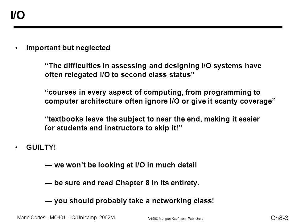 1998 Morgan Kaufmann Publishers Mario Côrtes - MO401 - IC/Unicamp- 2002s1 Ch8-24 Interface E/S - Mem - CPU - OS Questões: –como o usuário controla a E/S.