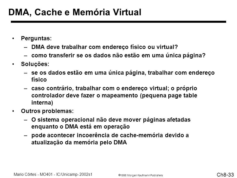 1998 Morgan Kaufmann Publishers Mario Côrtes - MO401 - IC/Unicamp- 2002s1 Ch8-33 DMA, Cache e Memória Virtual Perguntas: –DMA deve trabalhar com endereço físico ou virtual.