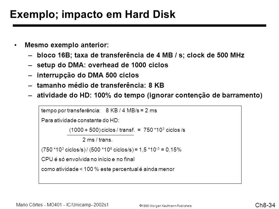 1998 Morgan Kaufmann Publishers Mario Côrtes - MO401 - IC/Unicamp- 2002s1 Ch8-34 tempo por transferência: 8 KB / 4 MB/s = 2 ms Para atividade constante do HD: (1000 + 500) ciclos / transf.