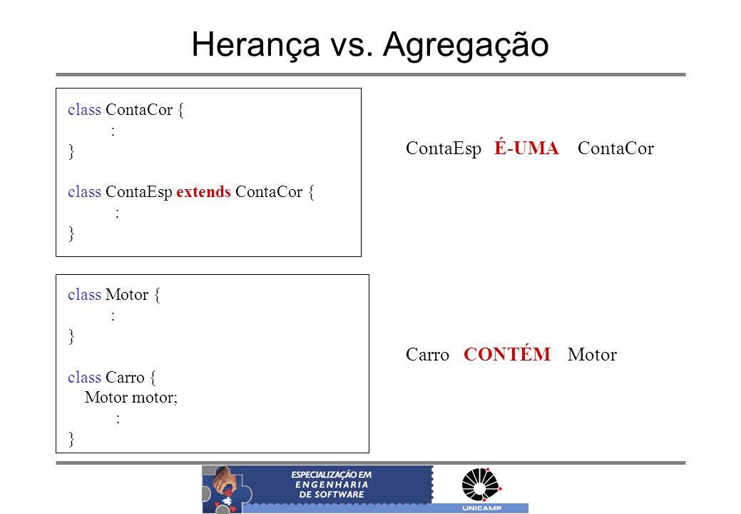 Herança vs. Agregação class ContaCor { : } class ContaEsp extends ContaCor { : } class Motor { : } class Carro { Motor motor; : } ContaEsp É-UMA Conta