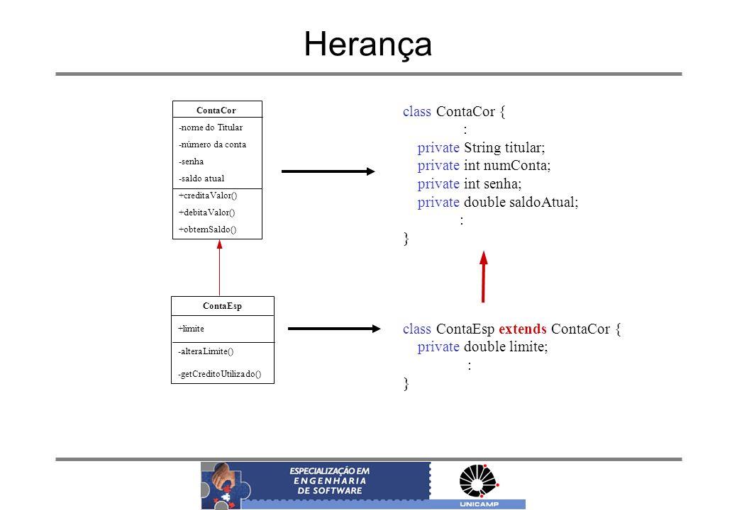 Herança ContaCor -nome do Titular -número da conta -senha -saldo atual +creditaValor() +debitaValor() +obtemSaldo() ContaEsp +limite -alteraLimite() -