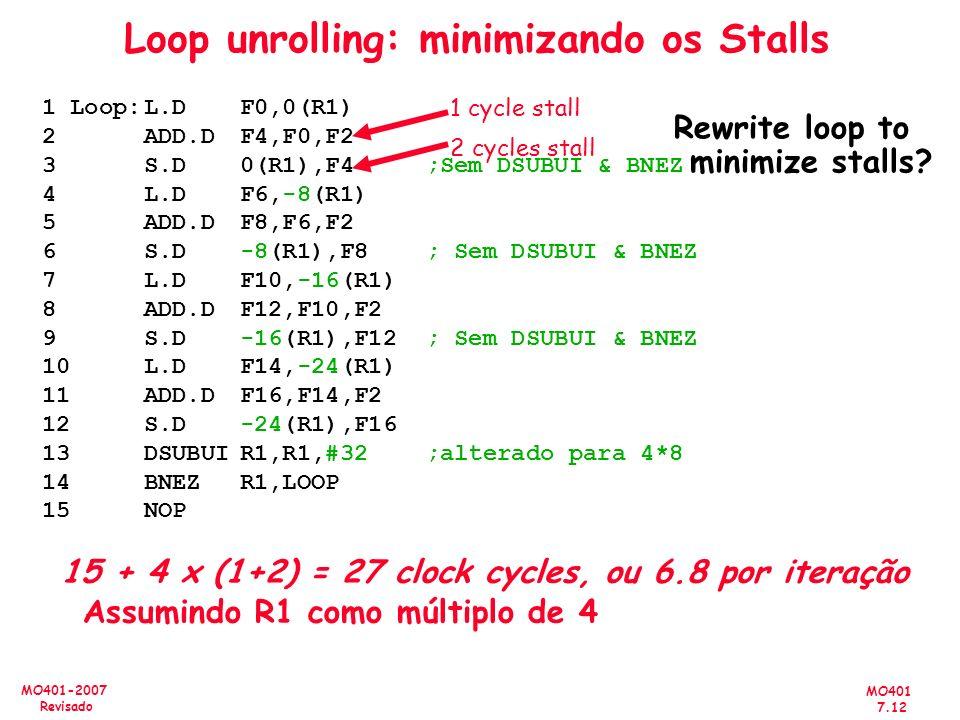 MO401 7.12 MO401-2007 Revisado Loop unrolling: minimizando os Stalls Rewrite loop to minimize stalls? 1 Loop:L.DF0,0(R1) 2ADD.DF4,F0,F2 3S.D0(R1),F4 ;