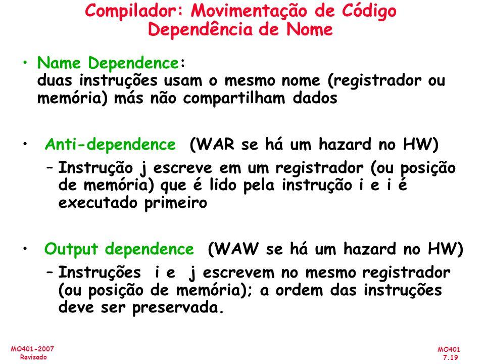 MO401 7.19 MO401-2007 Revisado Compilador: Movimentação de Código Dependência de Nome Name Dependence: duas instruções usam o mesmo nome (registrador