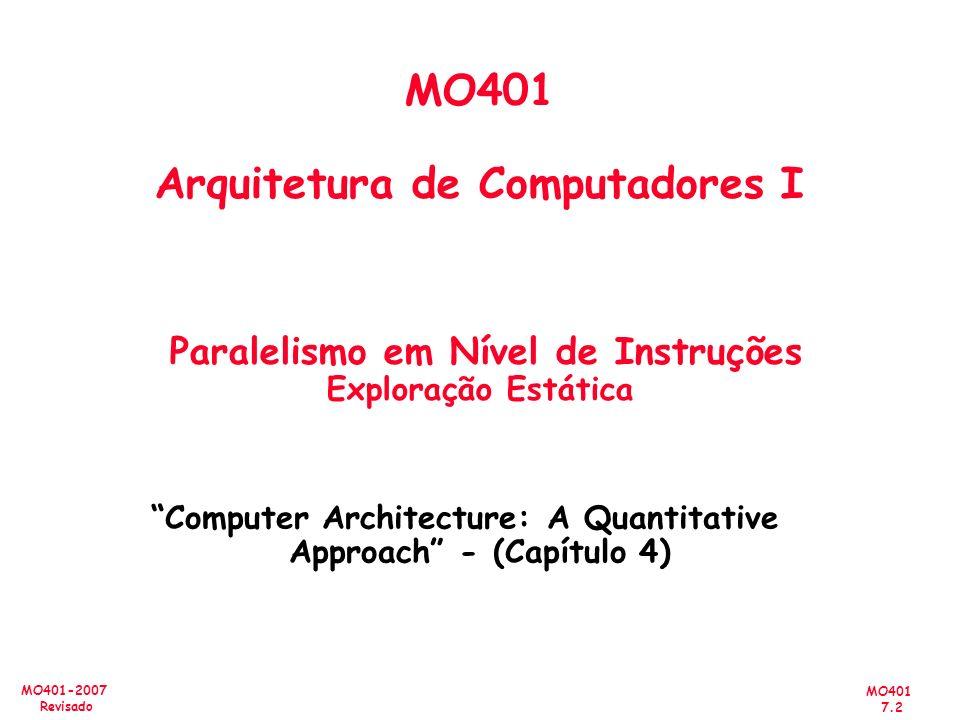 MO401 7.2 MO401-2007 Revisado MO401 Arquitetura de Computadores I Paralelismo em Nível de Instruções Exploração Estática Computer Architecture: A Quan
