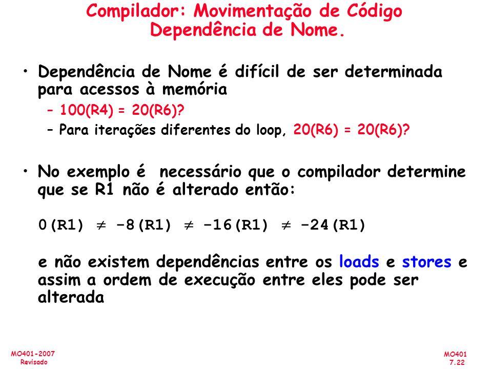 MO401 7.22 MO401-2007 Revisado Compilador: Movimentação de Código Dependência de Nome. Dependência de Nome é difícil de ser determinada para acessos à