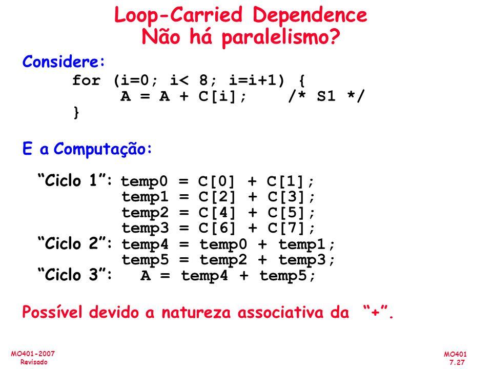 MO401 7.27 MO401-2007 Revisado Loop-Carried Dependence Não há paralelismo? Considere: for (i=0; i< 8; i=i+1) { A = A + C[i]; /* S1 */ } E a Computação