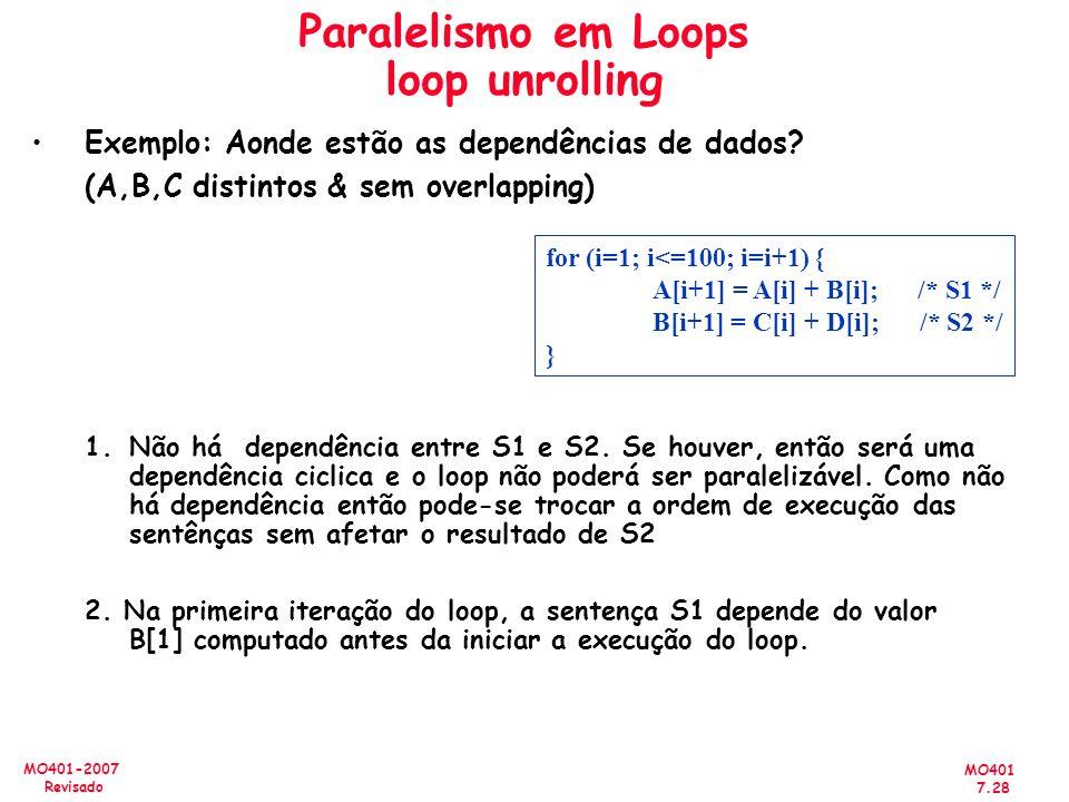 MO401 7.28 MO401-2007 Revisado Paralelismo em Loops loop unrolling Exemplo: Aonde estão as dependências de dados? (A,B,C distintos & sem overlapping)