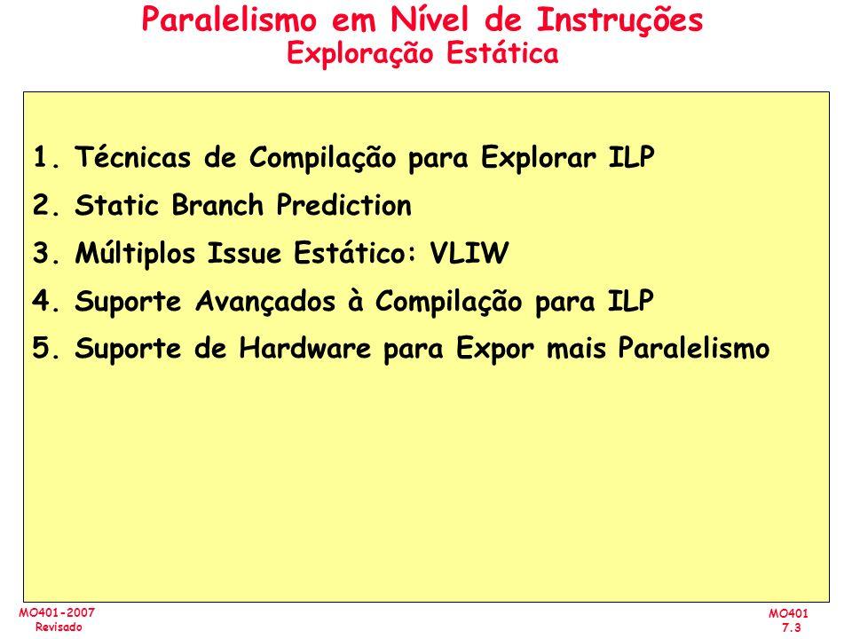MO401 7.3 MO401-2007 Revisado Paralelismo em Nível de Instruções Exploração Estática 1.Técnicas de Compilação para Explorar ILP 2.Static Branch Predic