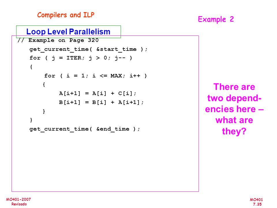MO401 7.35 MO401-2007 Revisado Example 2 Compilers and ILP Loop Level Parallelism // Example on Page 320 get_current_time( &start_time ); for ( j = IT