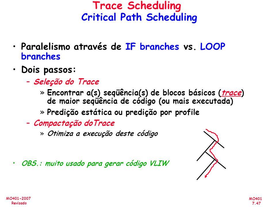 MO401 7.47 MO401-2007 Revisado Trace Scheduling Critical Path Scheduling Paralelismo através de IF branches vs. LOOP branches Dois passos: –Seleção do