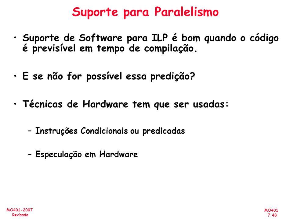 MO401 7.48 MO401-2007 Revisado Suporte para Paralelismo Suporte de Software para ILP é bom quando o código é previsível em tempo de compilação. E se n