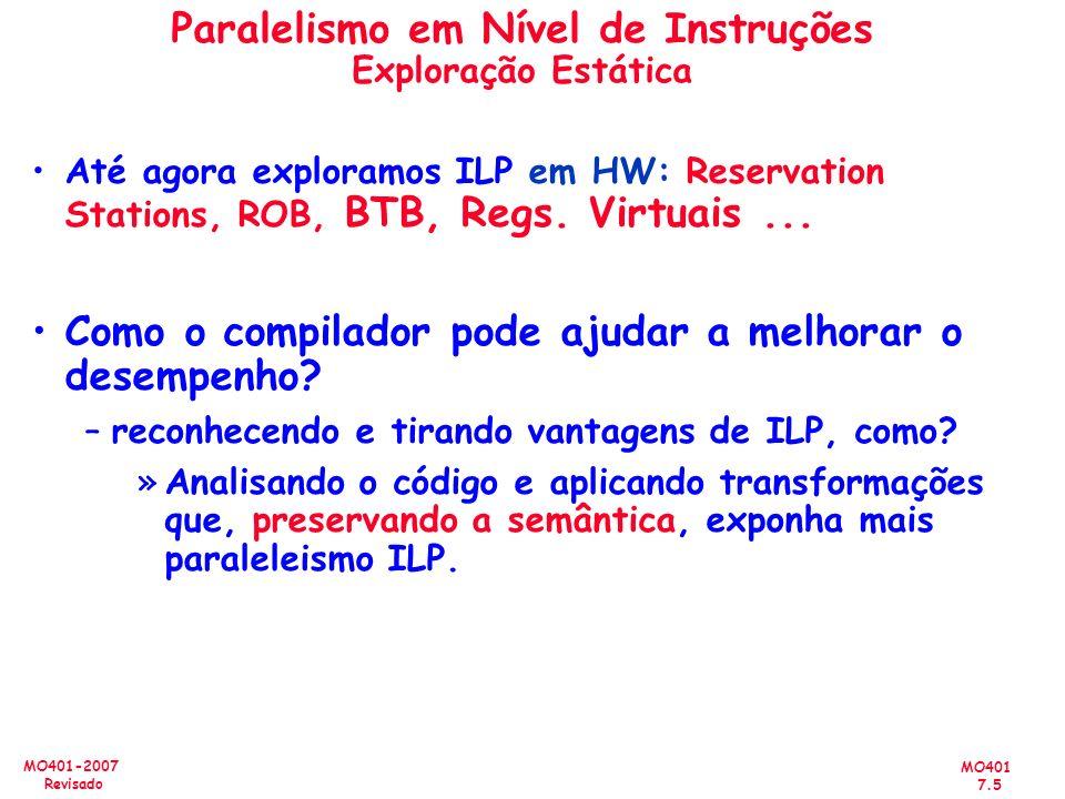 MO401 7.5 MO401-2007 Revisado Até agora exploramos ILP em HW: Reservation Stations, ROB, BTB, Regs. Virtuais... Como o compilador pode ajudar a melhor