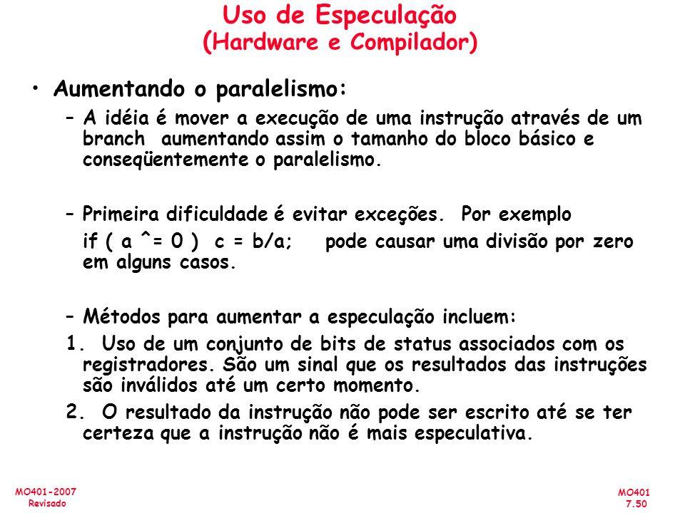 MO401 7.50 MO401-2007 Revisado Uso de Especulação ( Hardware e Compilador) Aumentando o paralelismo: –A idéia é mover a execução de uma instrução atra
