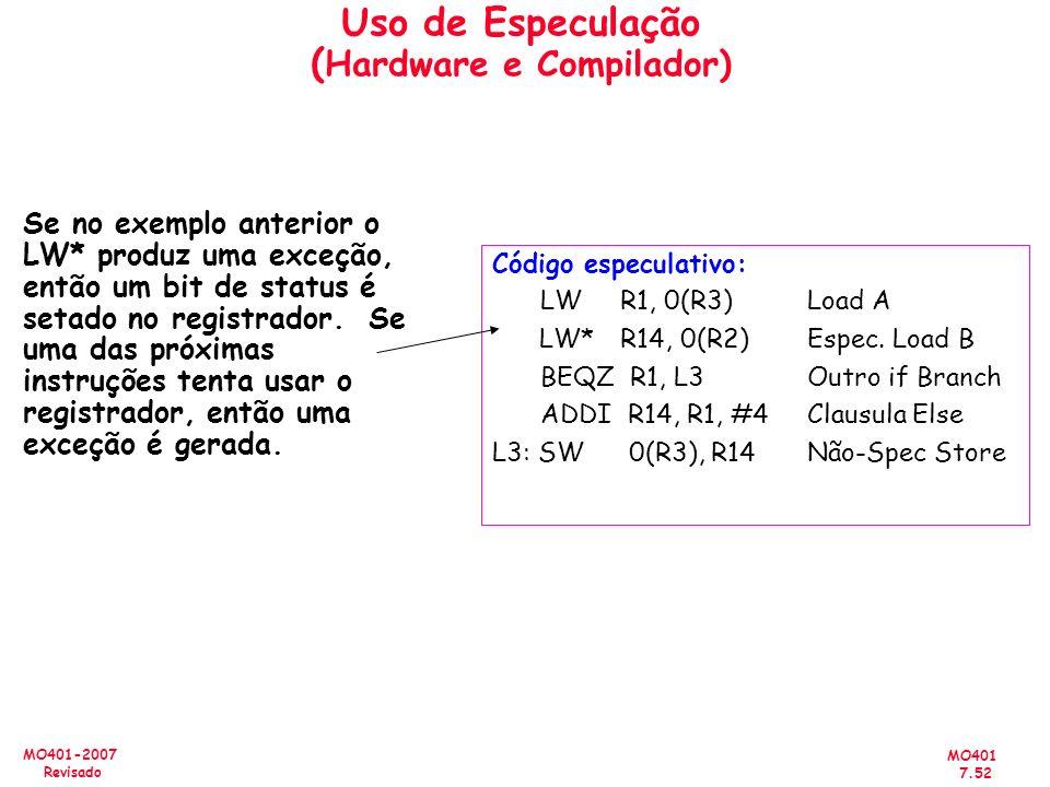 MO401 7.52 MO401-2007 Revisado Uso de Especulação ( Hardware e Compilador) Se no exemplo anterior o LW* produz uma exceção, então um bit de status é s