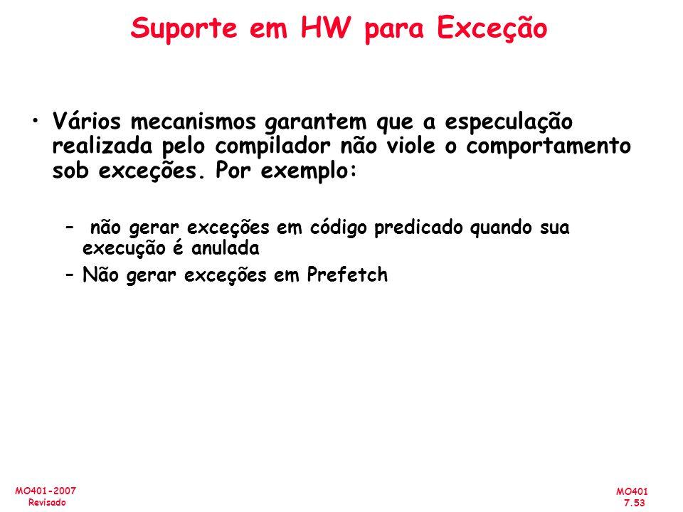 MO401 7.53 MO401-2007 Revisado Suporte em HW para Exceção Vários mecanismos garantem que a especulação realizada pelo compilador não viole o comportam