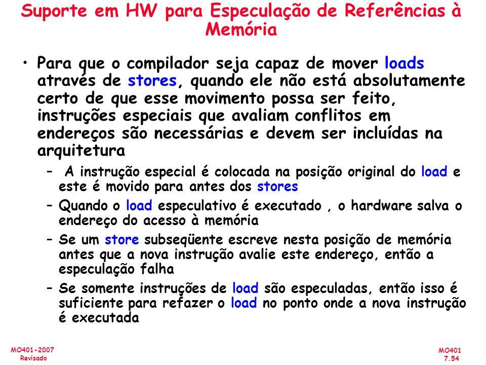 MO401 7.54 MO401-2007 Revisado Suporte em HW para Especulação de Referências à Memória Para que o compilador seja capaz de mover loads através de stor