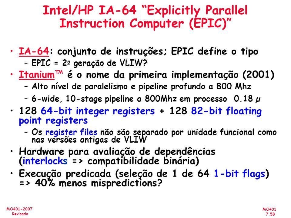 MO401 7.58 MO401-2007 Revisado Intel/HP IA-64 Explicitly Parallel Instruction Computer (EPIC) IA-64: conjunto de instruções; EPIC define o tipo –EPIC