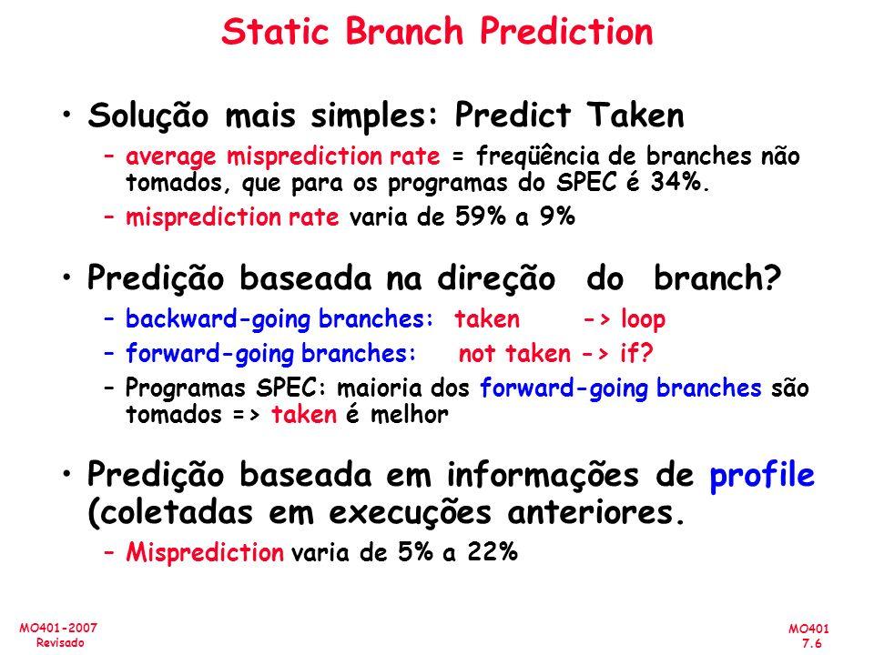MO401 7.6 MO401-2007 Revisado Static Branch Prediction Solução mais simples: Predict Taken –average misprediction rate = freqüência de branches não to