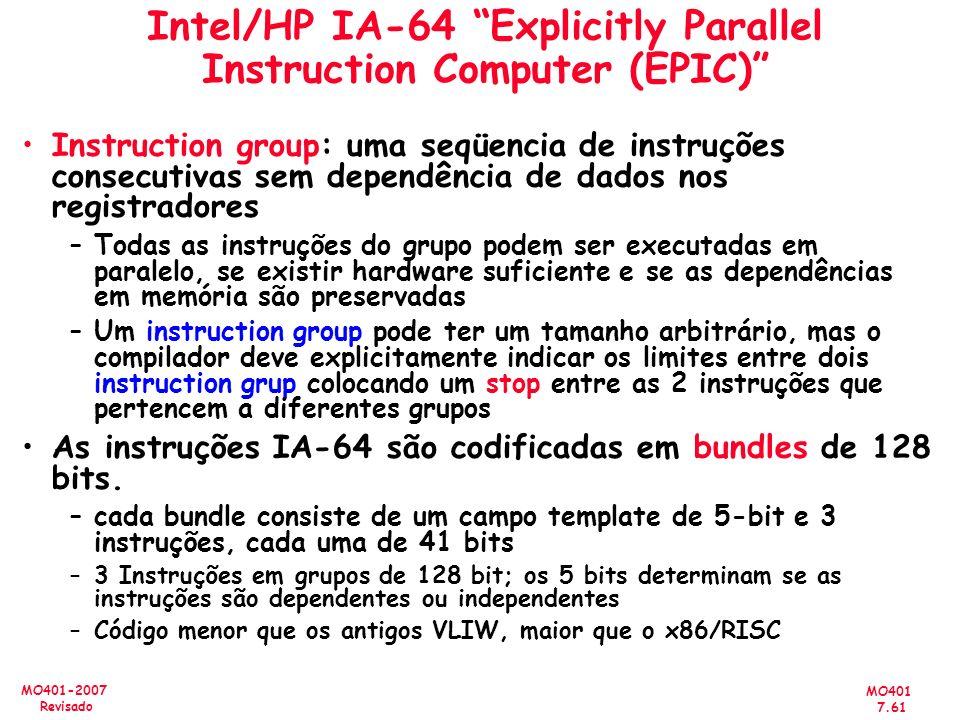 MO401 7.61 MO401-2007 Revisado Intel/HP IA-64 Explicitly Parallel Instruction Computer (EPIC) Instruction group: uma seqüencia de instruções consecuti