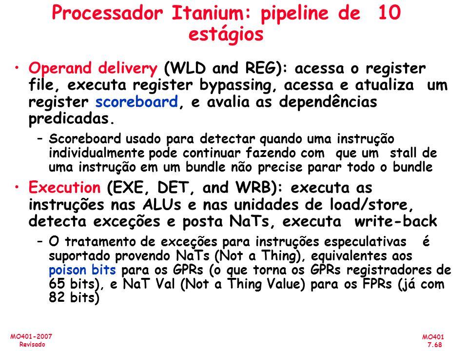 MO401 7.68 MO401-2007 Revisado Processador Itanium: pipeline de 10 estágios Operand delivery (WLD and REG): acessa o register file, executa register b