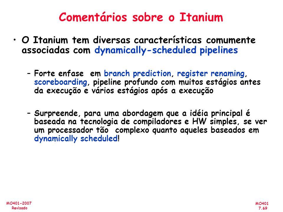 MO401 7.69 MO401-2007 Revisado Comentários sobre o Itanium O Itanium tem diversas características comumente associadas com dynamically-scheduled pipel