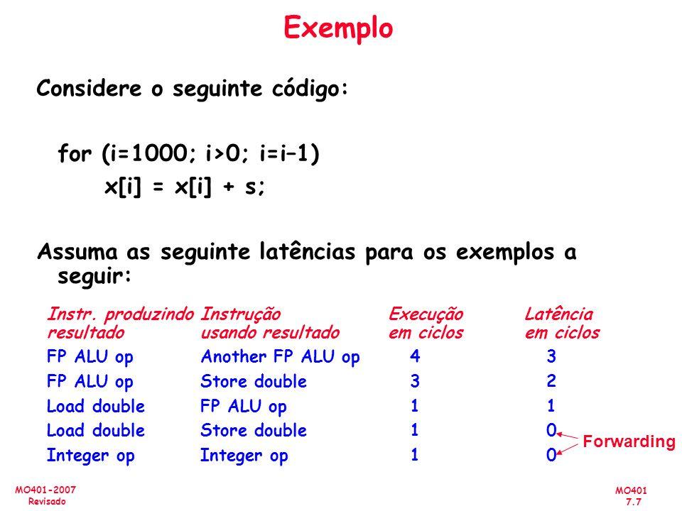 MO401 7.7 MO401-2007 Revisado Exemplo Considere o seguinte código: for (i=1000; i>0; i=i–1) x[i] = x[i] + s; Assuma as seguinte latências para os exem