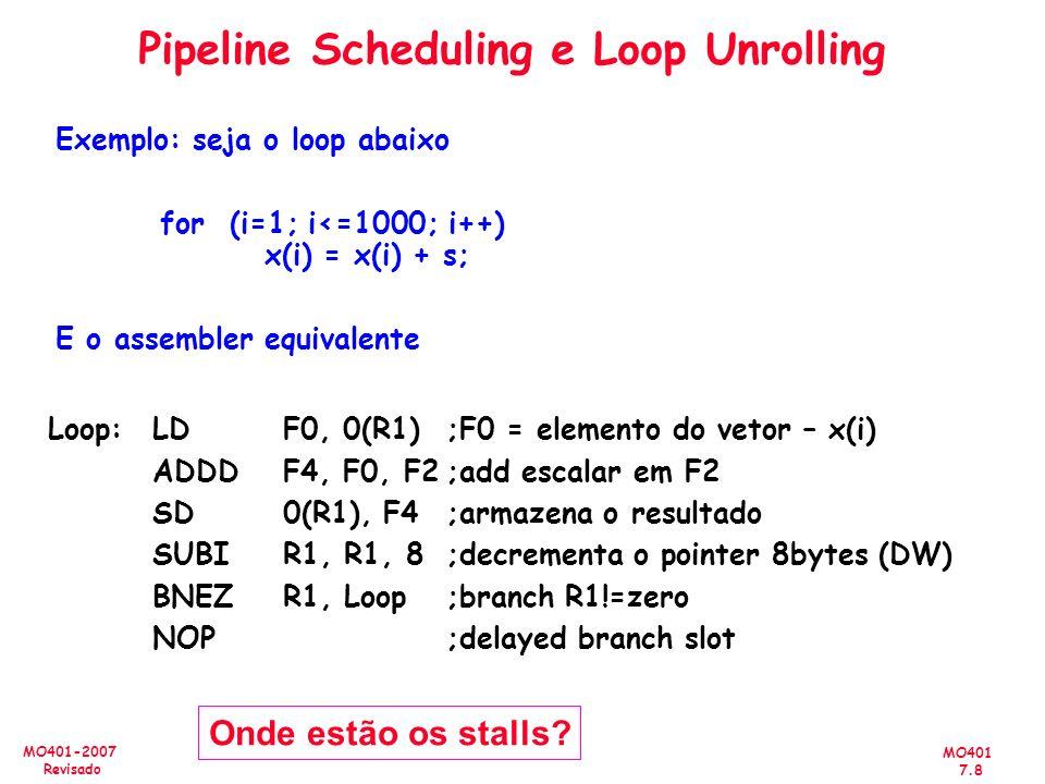 MO401 7.8 MO401-2007 Revisado Exemplo: seja o loop abaixo for (i=1; i<=1000; i++) x(i) = x(i) + s; E o assembler equivalente Loop:LDF0, 0(R1);F0 = ele