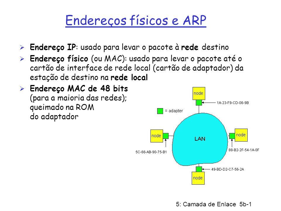 5: Camada de Enlace 5b-1 Endereços físicos e ARP Endereço IP: usado para levar o pacote à rede destino Endereço físico (ou MAC): usado para levar o pa
