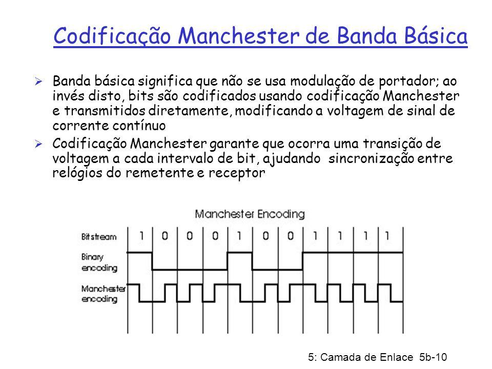 5: Camada de Enlace 5b-10 Codificação Manchester de Banda Básica Banda básica significa que não se usa modulação de portador; ao invés disto, bits são