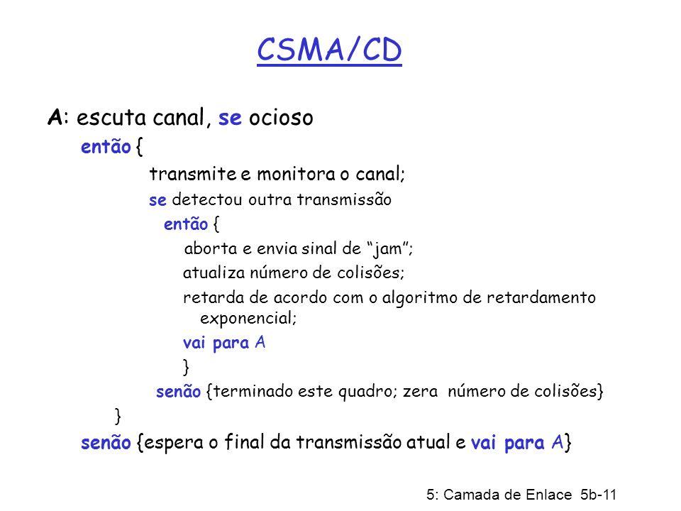 5: Camada de Enlace 5b-11 CSMA/CD A: escuta canal, se ocioso então { transmite e monitora o canal; se detectou outra transmissão então { aborta e envi