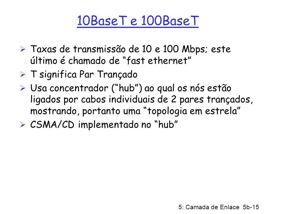 5: Camada de Enlace 5b-15 10BaseT e 100BaseT Taxas de transmissão de 10 e 100 Mbps; este último é chamado de fast ethernet T significa Par Trançado Us