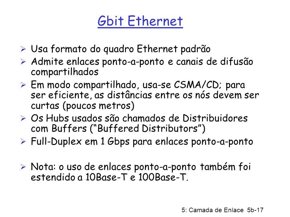 5: Camada de Enlace 5b-17 Gbit Ethernet Usa formato do quadro Ethernet padrão Admite enlaces ponto-a-ponto e canais de difusão compartilhados Em modo