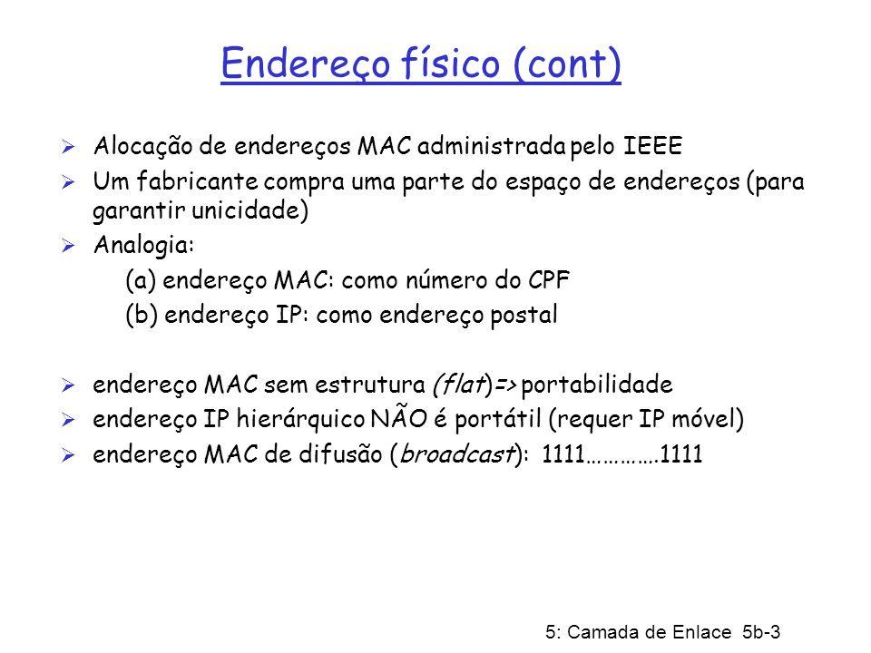 5: Camada de Enlace 5b-3 Endereço físico (cont) Alocação de endereços MAC administrada pelo IEEE Um fabricante compra uma parte do espaço de endereços