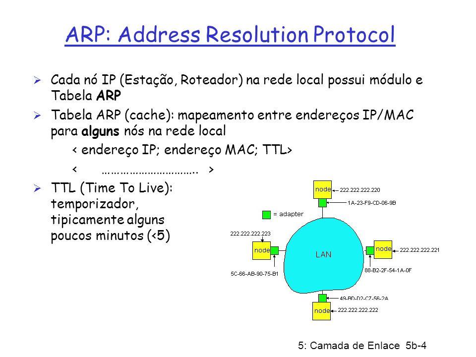 5: Camada de Enlace 5b-5 ARP (cont) Nó A quer enviar pacote para endereço IP de destino XYZ na mesma rede local Nó de origem primeiro verifica se sua própria Tabela ARP contém o endereço IP XYZ Se XYZ não estiver na Tabela ARP, o módulo ARP difunde pacote ARP: TODOS nós na rede local aceitam e inspecionam o pacote ARP Nó XYZ responde ao nó A com pacote ARP unicast (ponto a ponto) informando seu próprio endereço MAC : Endereço MAC de XYZ guardado na Tabela ARP