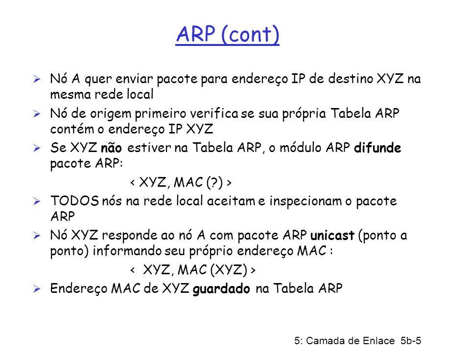5: Camada de Enlace 5b-5 ARP (cont) Nó A quer enviar pacote para endereço IP de destino XYZ na mesma rede local Nó de origem primeiro verifica se sua