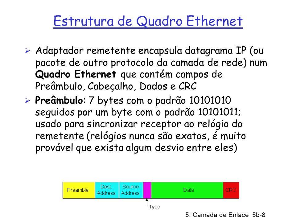 5: Camada de Enlace 5b-9 Estrutura de Quadro Ethernet (cont) Cabeçalho contém Endereços de Destino e Origem e um campo Tipo Endereços: 6 bytes, o quadro é recebido por todos adaptadores numa rede local e descartado se não casar o endereço de destino com o do receptor Tipo: indica o protocolo da camada superior, usualmente IP, mas existe suporte para outros (tais como IPX da Novell e AppleTalk) CRC: verificado pelo receptor: se for detectado um erro, o quadro será descartado