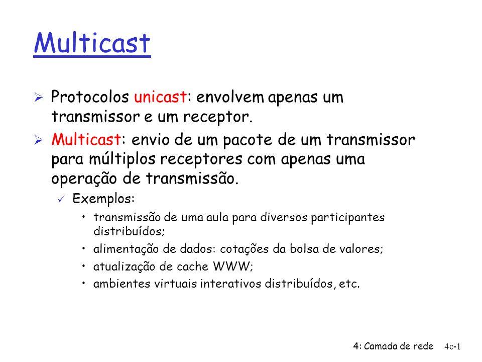 4: Camada de rede4c-2 Multicast: aspectos da camada de rede Ø Algoritmos de roteamento Ø Multicast na Internet não é um serviço sem conexões: ü devem ser estabelecidas conexões multicast ü devem ser mantidas informações de estado das conexões multicast em cada roteador participante da mesma.