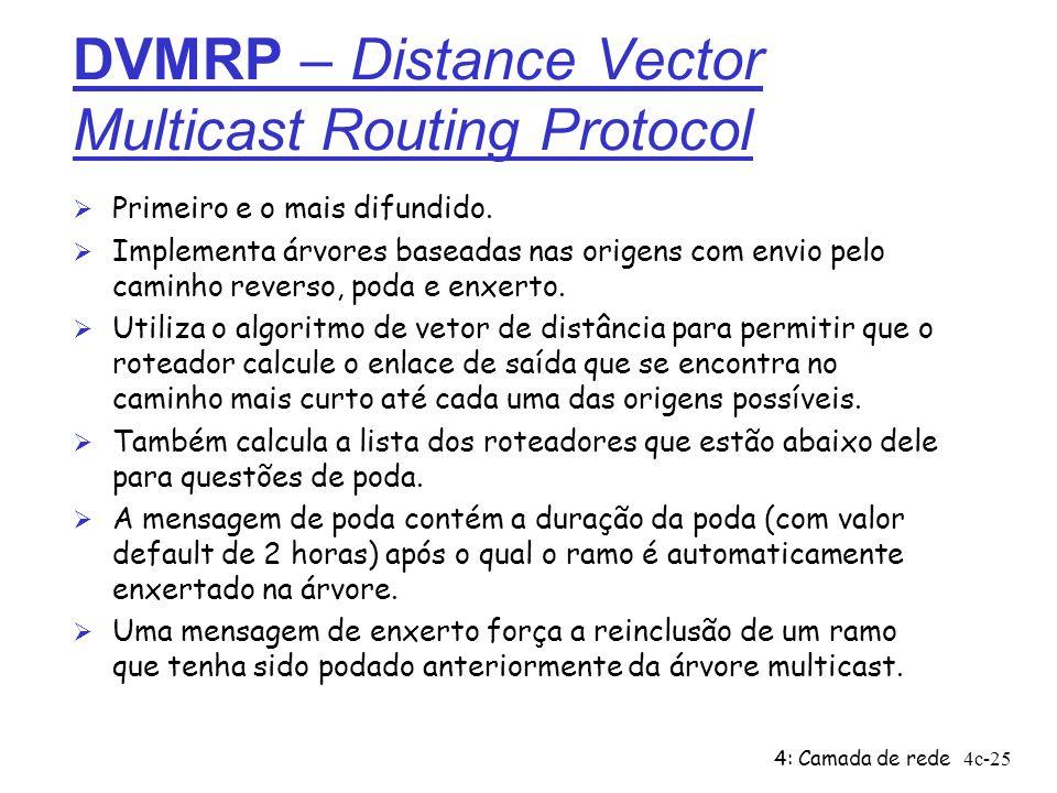 4: Camada de rede4c-25 DVMRP – Distance Vector Multicast Routing Protocol Ø Primeiro e o mais difundido. Ø Implementa árvores baseadas nas origens com