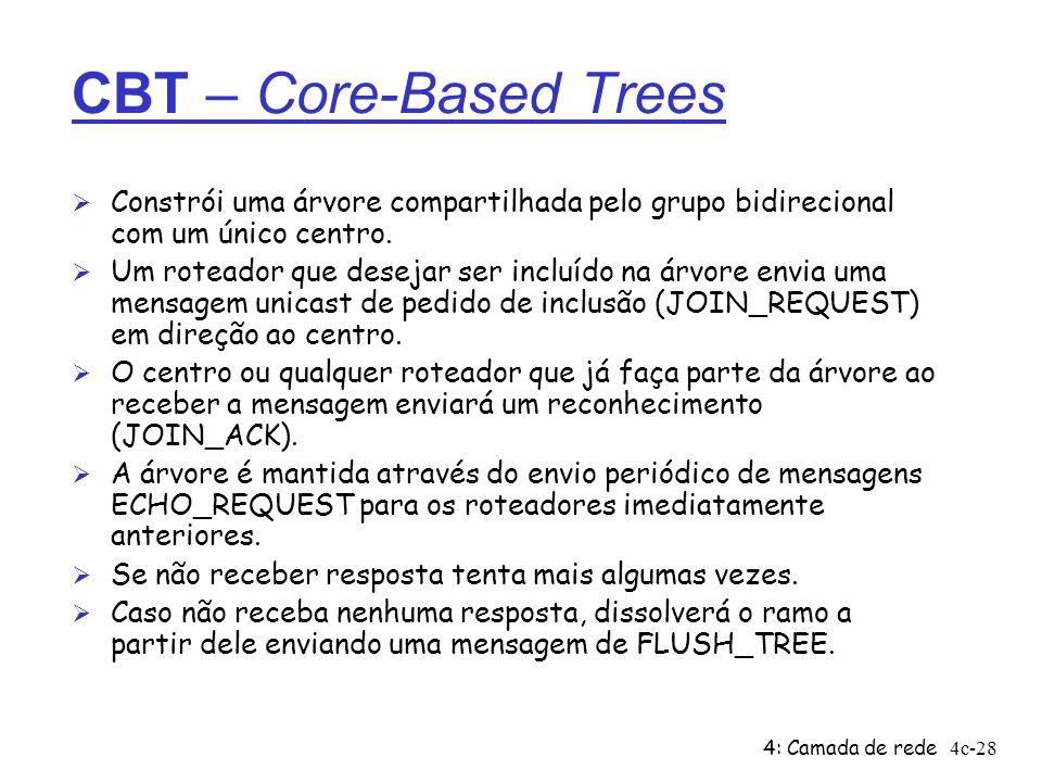4: Camada de rede4c-28 CBT – Core-Based Trees Ø Constrói uma árvore compartilhada pelo grupo bidirecional com um único centro. Ø Um roteador que desej