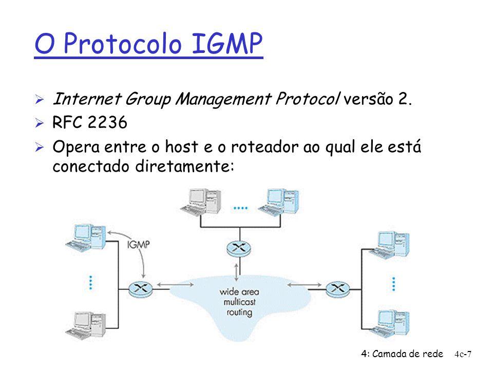 4: Camada de rede4c-7 O Protocolo IGMP Ø Internet Group Management Protocol versão 2. Ø RFC 2236 Ø Opera entre o host e o roteador ao qual ele está co