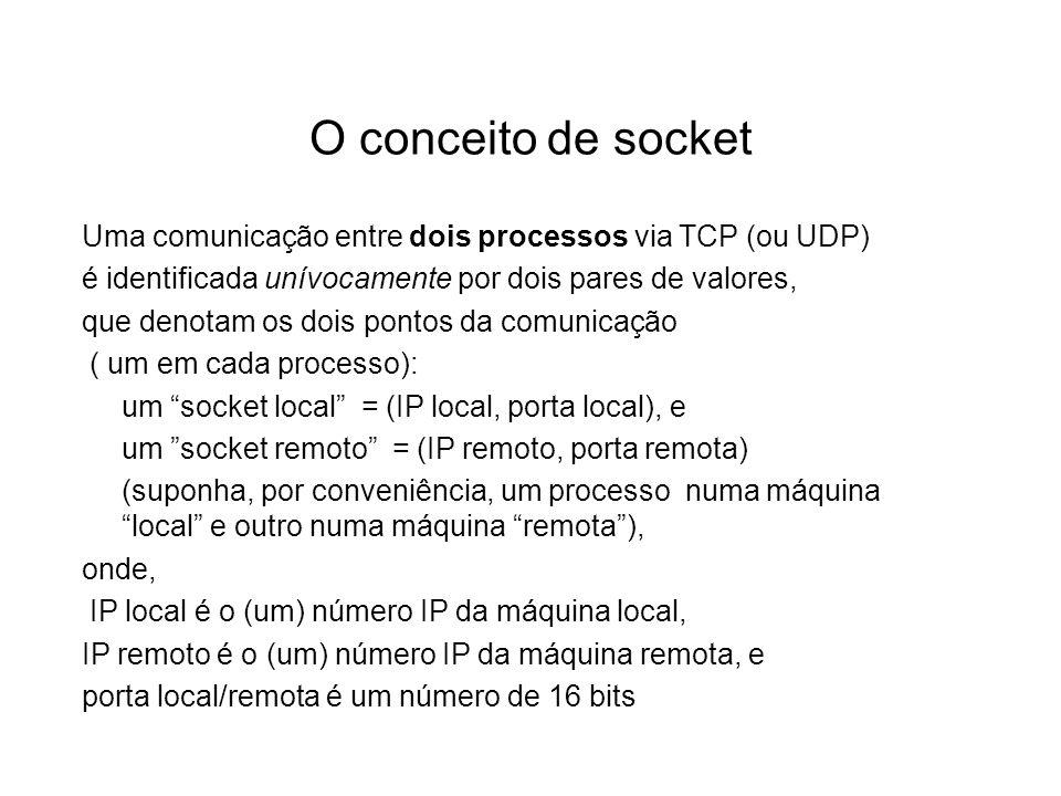 O conceito de socket Uma comunicação entre dois processos via TCP (ou UDP) é identificada unívocamente por dois pares de valores, que denotam os dois